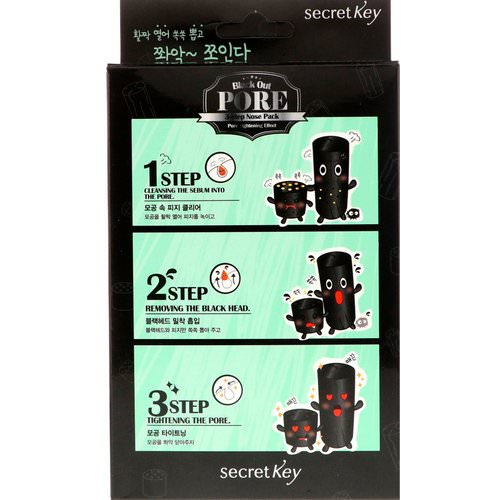 Secret Key, Black Out, Pore 3-Step Nose Pack, 5 Pieces Review