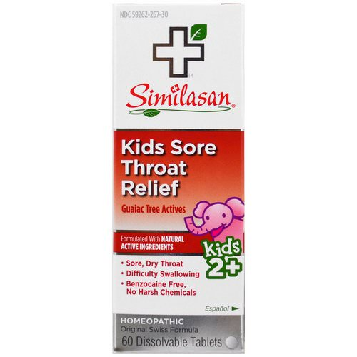 Similasan, Kids Sore Throat Relief, Guaiac Tree Actives, 2+, 60 Dissolvable Tablets Review