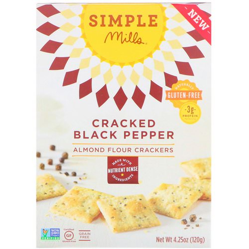 Simple Mills, Naturally Gluten-Free, Almond Flour Crackers, Cracked Black Pepper, 4.25 oz (120 g) Review