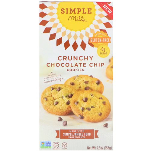 Simple Mills, Naturally Gluten-Free, Crunchy Cookies, Chocolate Chip, 5.5 oz (156 g) Review
