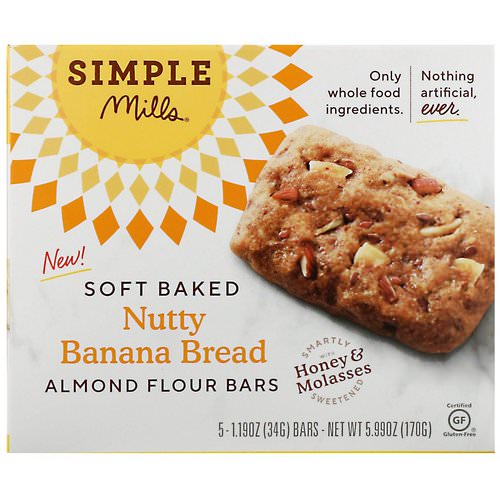 Simple Mills, Soft-Baked Almond Flour Bars, Nutty Banana Bread, 5 Bars, 1.19 oz (34 g) Each Review