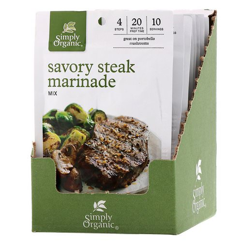 Simply Organic, Savory Steak Marinade Mix, 12 Packets, 0.70 oz (20 g) Each Review
