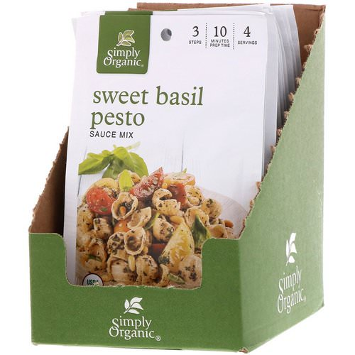 Simply Organic, Sweet Basil Pesto Sauce Mix, 12 Packets, 0.53 oz (15 g) Each Review