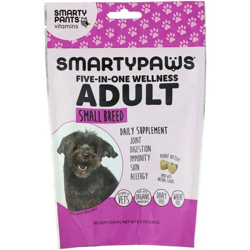 SmartyPants, SmartyPaws, Five-In-One Wellness, Adult, Small Breed, 60 Soft Chews Review