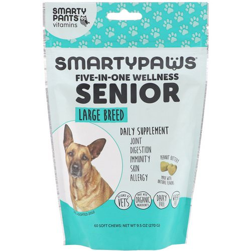 SmartyPants, SmartyPaws, Five-In-One Wellness, Senior, Large Breed, 60 Soft Chews Review