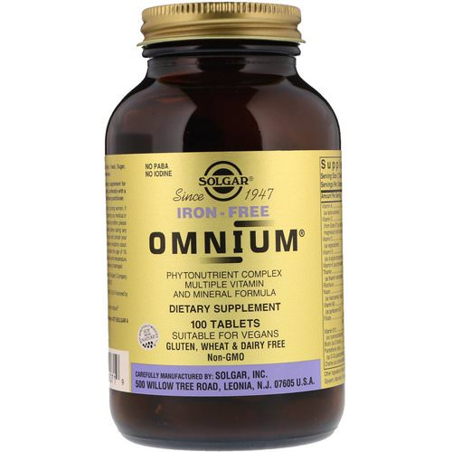Solgar, Omnium, Multiple Vitamin and Mineral Formula, Iron-Free, 100 Tablets Review