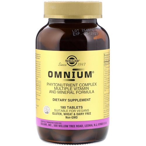 Solgar, Omnium, Phytonutrient Complex, Multiple Vitamin and Mineral Formula, 180 Tablets Review
