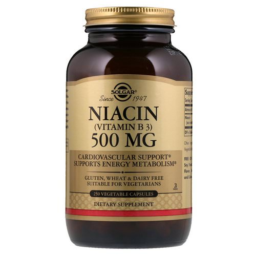 Solgar, Vitamin B3 (Niacin), 500 mg, 250 Vegetable Capsules Review