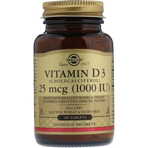 Solgar, Vitamin D3 (Cholecalciferol), 1000 IU, 180 Tablets Review