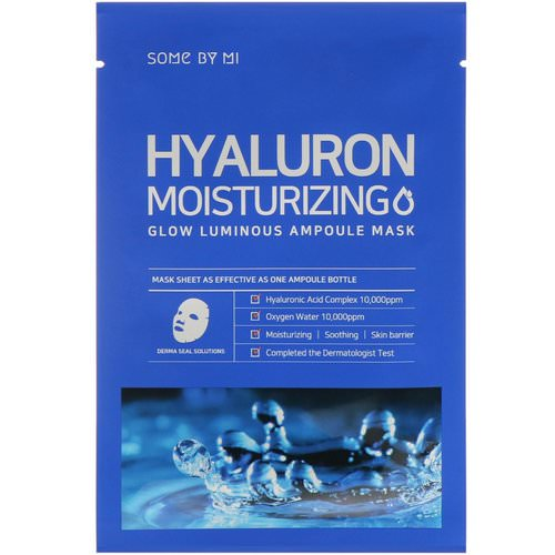 Some By Mi, Glow Luminous Ampoule Mask, Hyaluron Moisturizing, 10 Sheets, 25 g Each Review