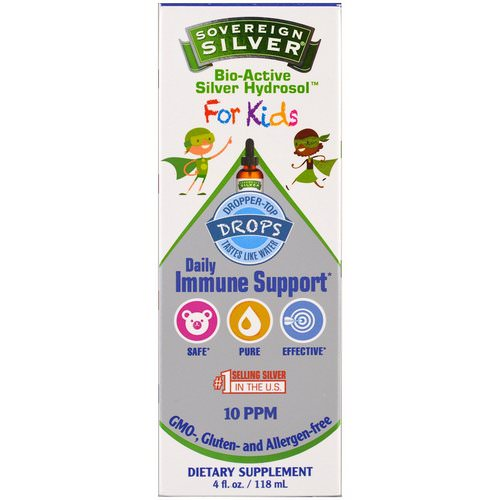 Sovereign Silver, Bio-Active Silver Hydrosol, For Kids, Daily Immune Support Drops, 4 fl oz (118 ml) Review