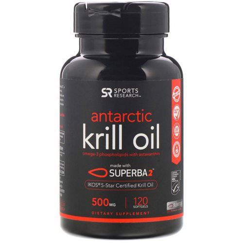 Sports Research, Antarctic Krill Oil with Astaxanthin, 500 mg, 120 Softgels Review