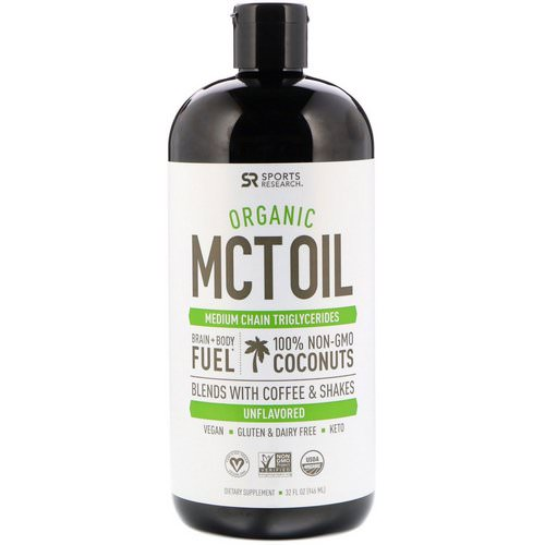 Sports Research, Organic MCT Oil, Unflavored, 32 fl oz (946 ml) Review