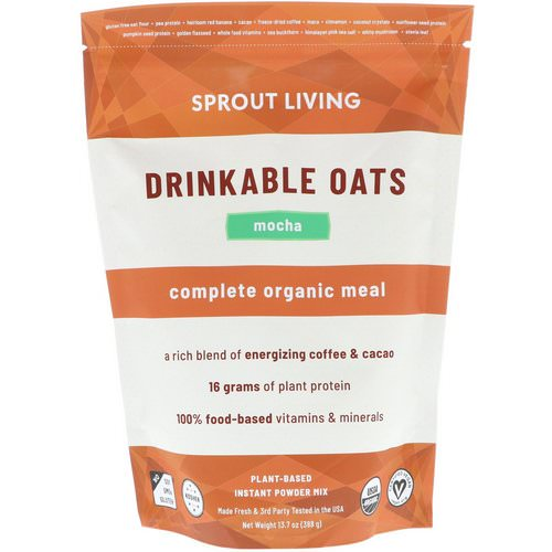 Sprout Living, Drinkable Oats, Complete Organic Meal, Mocha, 13.7 oz (388 g) Review