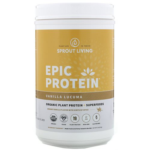 Sprout Living, Epic Protein, Organic Plant Protein + Superfoods, Vanilla Lucuma, 2 lb (910 g) Review