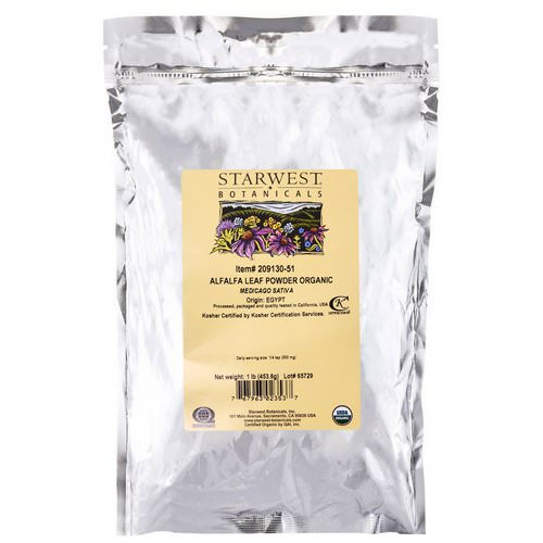 Starwest Botanicals, Alfalfa Leaf Powder, Organic, 1 lb (453.6 g) Review