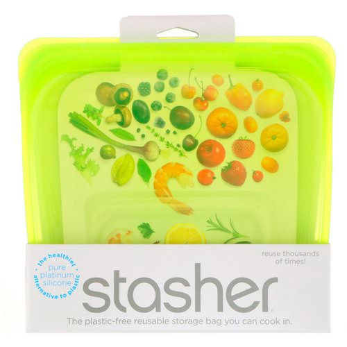 Stasher, Reusable Silicone Food Bag, Sandwich Size Medium, Lime, 15 fl oz (450 ml) Review