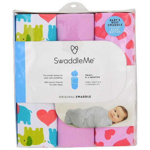 Summer Infant, Swaddle Me, Original Swaddle, Small, 0-3 Months, Elephant Hearts, 3 Swaddles Review