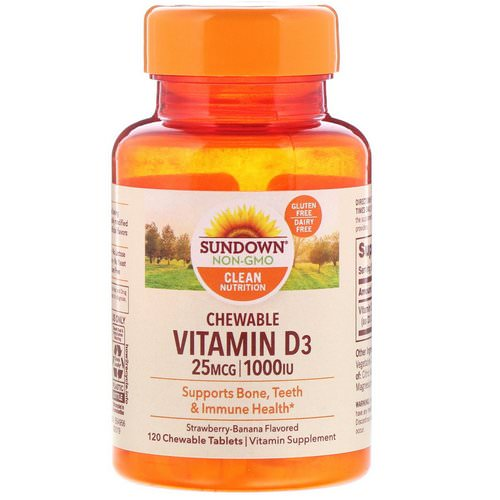 Sundown Naturals, Chewable Vitamin D3, Strawberry-Banana Flavored, 25 mg (1,000 IU), 120 ChewableTablets Review