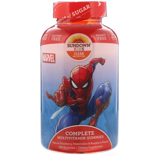 Sundown Naturals Kids, Complete Multivitamin Gummies, Marvel Spiderman, Natural Strawberry, Watermelon & Raspberry Flavors, 180 Gummies Review