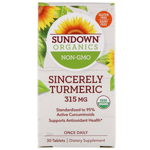 Sundown Organics, Sincerely Turmeric, 315 mg, 30 Tablets Review