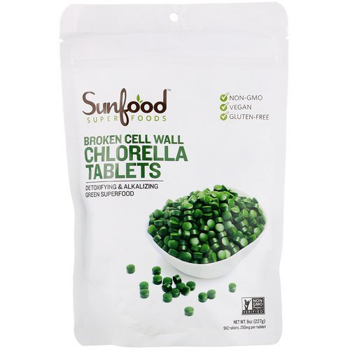 Sunfood, Broken Cell Wall Chlorella Tablets, 250 mg, 912 Tablets, 8 oz (227 g) Review