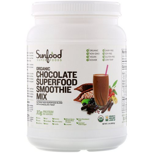 Sunfood, Organic Superfood Smoothie Mix, Chocolate, 1.1 lb (498.9 g) Review
