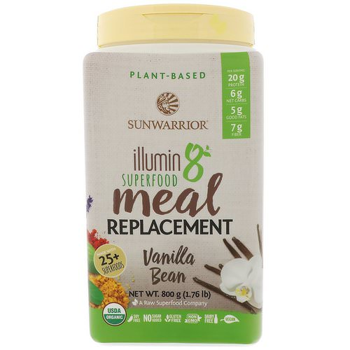 Sunwarrior, Illumin8, Plant-Based Organic Superfood Meal Replacement, Vanilla Bean, 1.76 lb (800 g) Review