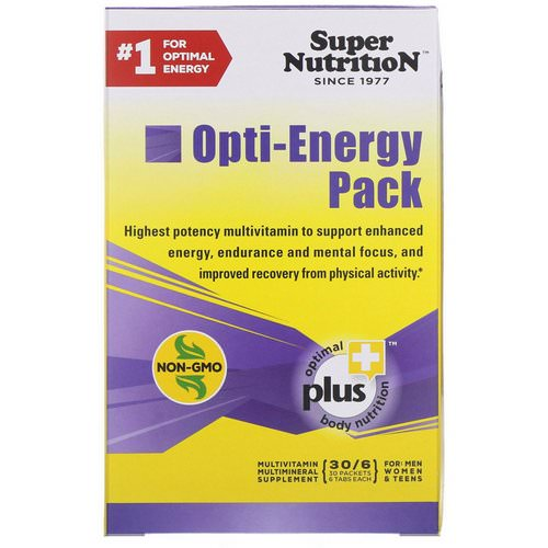 Super Nutrition, Opti-Energy Pack, MultiVitamin/Multimineral Supplement, 30 Packets, (6 Tabs Each) Review