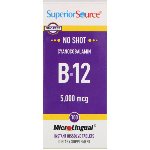 Superior Source, Cyanocobalamin B-12, 5,000 mcg, 100 MicroLingual Instant Dissolve Tablets Review
