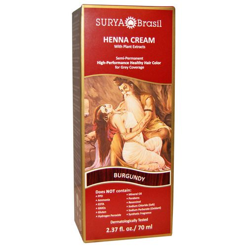 Surya Brasil, Henna Cream, Hair Coloring & Conditioning Treatment, Burgundy, 2.37 fl oz (70 ml) Review