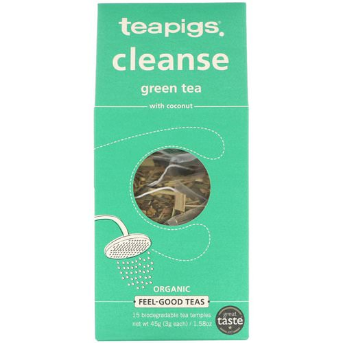 TeaPigs, Cleanse Green Tea with Coconut, 15 Tea Temples, 1.58 oz (45 g) Review