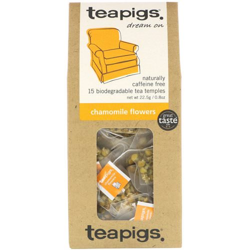 TeaPigs, Dream On, Chamomile Flowers, Caffeine Free, 15 Tea Temples, 0.8 oz (22.5 g) Review
