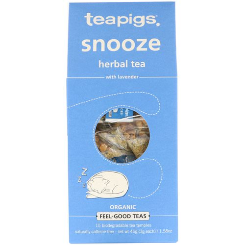TeaPigs, Snooze Herbal Tea with Lavender, Caffeine Free, 15 Tea Temples, 1.58 oz (45 g) Review