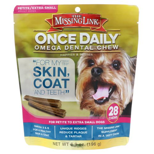 The Missing Link, Once Daily, Omega Dental Chew, For Petite To Extra Small Dogs, 28 Chews, 6.9 oz (196 g) Review
