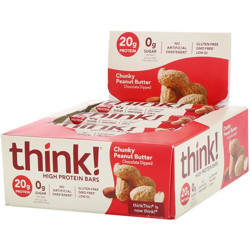 ThinkThin, High Protein Bars, Chunky Peanut Butter, 10 Bars, 2.1 oz (60 g) Each Review