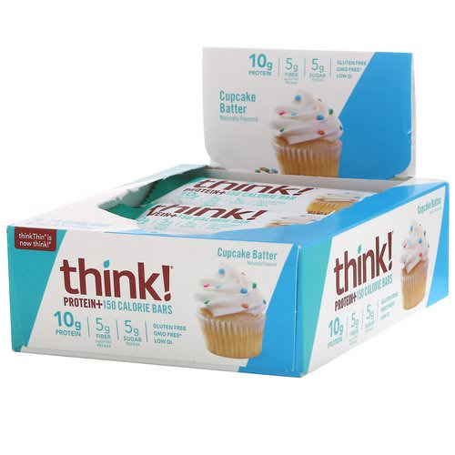ThinkThin, Protein+ 150 Calorie Bars, Cupcake Batter, 10 Bars, 1.41 oz (40 g) Each Review