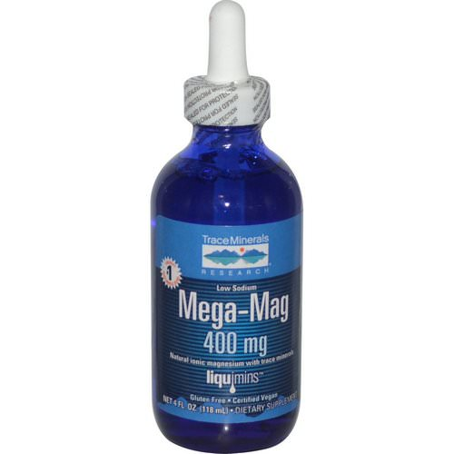 Trace Minerals Research, Mega-Mag, Natural Ionic Magnesium with Trace Minerals, 400 mg, 4 fl oz (118 ml) Review