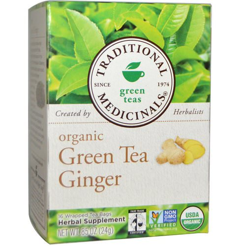 Traditional Medicinals, Green Teas, Organic Green Tea Ginger, 16 Wrapped Tea Bags, .85 oz (24 g) Review