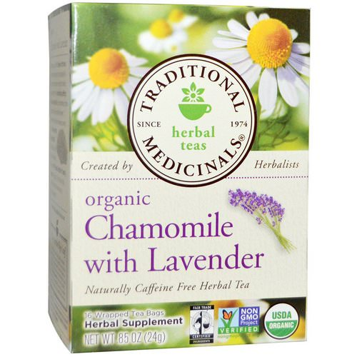 Traditional Medicinals, Herbal Teas, Organic Chamomile with Lavender, Naturally Caffeine Free, 16 Wrapped Tea Bags, .85 oz (24 g) Review