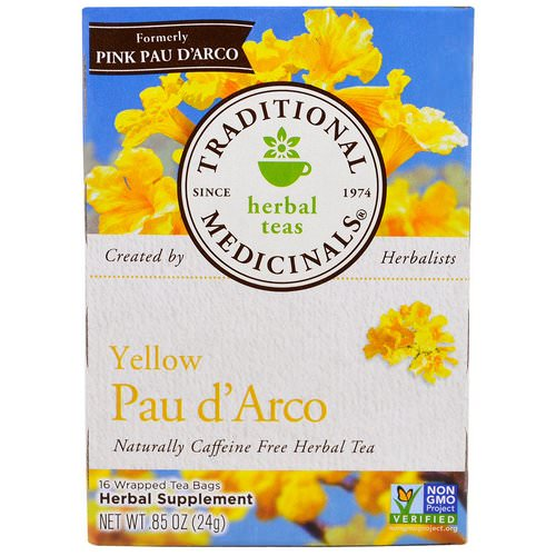 Traditional Medicinals, Herbal Teas, Yellow Pau d' Arco, Naturally Caffeine Free, 16 Wrapped Tea Bags, .85 oz (24 g) Review