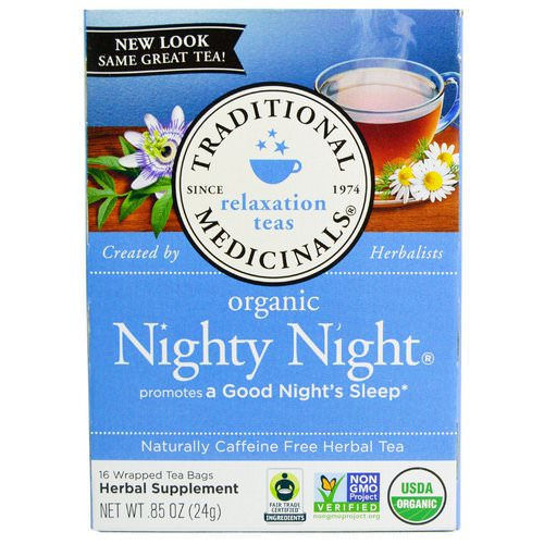 Traditional Medicinals, Relaxation Teas, Organic Nighty Night, Naturally Caffeine Free Herbal Tea, 16 Wrapped Tea Bags, .85 oz (24 g) Review