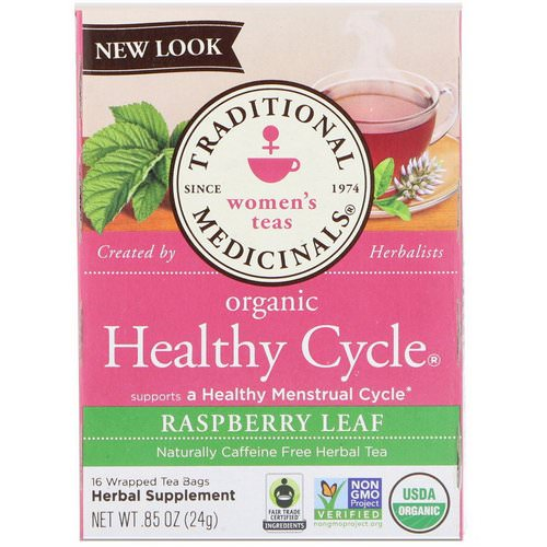 Traditional Medicinals, Women's Teas, Organic Healthy Cycle, Raspberry Leaf, Caffeine Free Herbal Tea, 16 Wrapped Tea Bags, .85 oz (24 g) Review