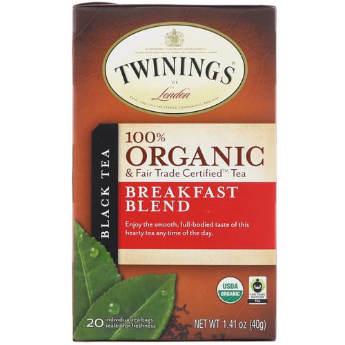 Twinings, 100% Organic Black Tea, Breakfast Blend, 20 Tea Bags, 1.41 oz (40 g) Review