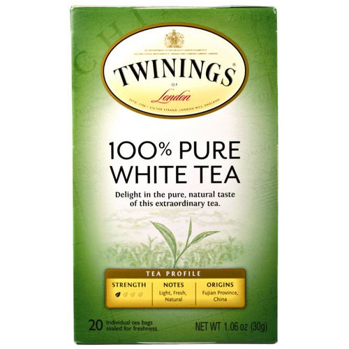 Twinings, 100% Pure White Tea, 20 Tea Bags, 1.06 oz (30 g) Each Review