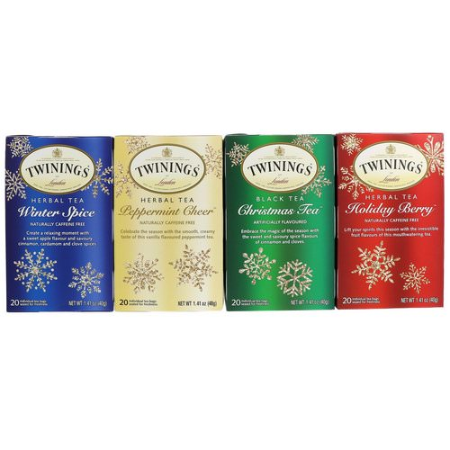 Twinings, Seasonal Tea Variety Pack, Special Edition, Holiday, 4 Boxes, 20 Tea Bags Each Review