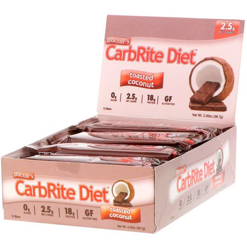 Universal Nutrition, Doctor's CarbRite Diet, Toasted Coconut, 12 Bars, 2.0 oz (56.7 g) Each Review
