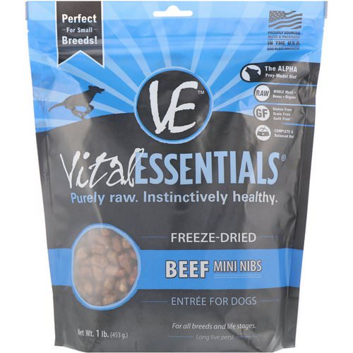 Vital Essentials, Freeze-Dried Entree For Dogs, Beef Mini Nibs, 1 lb. (453 g) Review