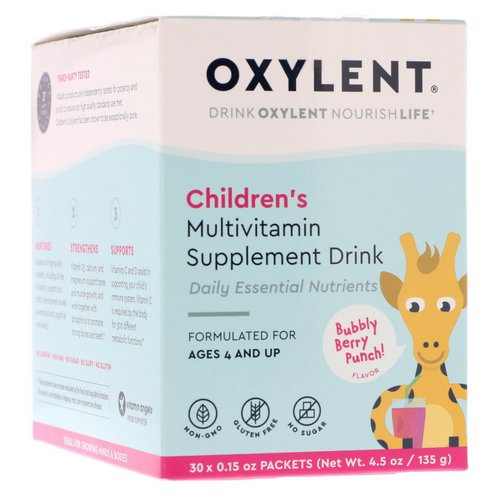 Vitalah, Children's Oxylent, Multivitamin Supplement Drink, Bubbly Berry Punch, 30 Packets, 0.15 oz (4.5 g) Each Review
