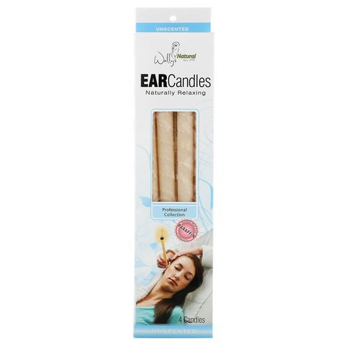 Wally's Natural, Professional Collection, Paraffin Ear Candles, Unscented, 4 Pack Review